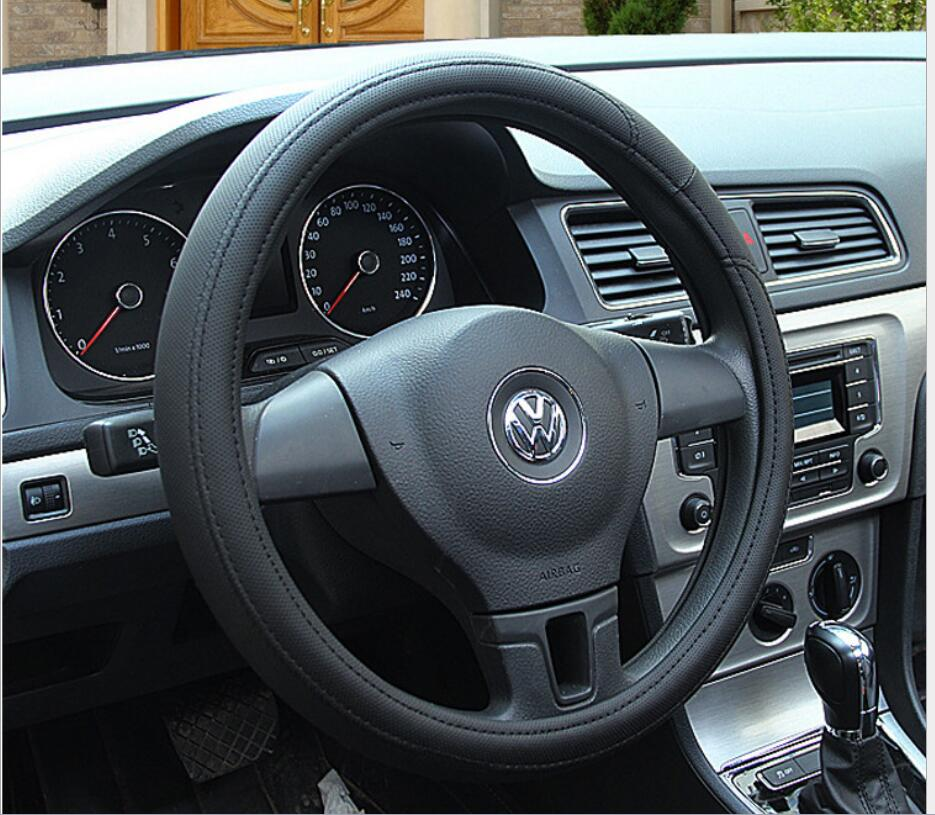 PU Leather Steering Wheel Cover Black Lychee Pattern with Anti-slip Braiding Style M Size fits 38cm/15 Diameter