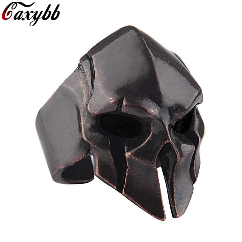 Spartan Hero Helmet Mask Ring for Men Vintage Punk Biker Jewelry Male Cool Antique Silver Gold Color Finger Rings