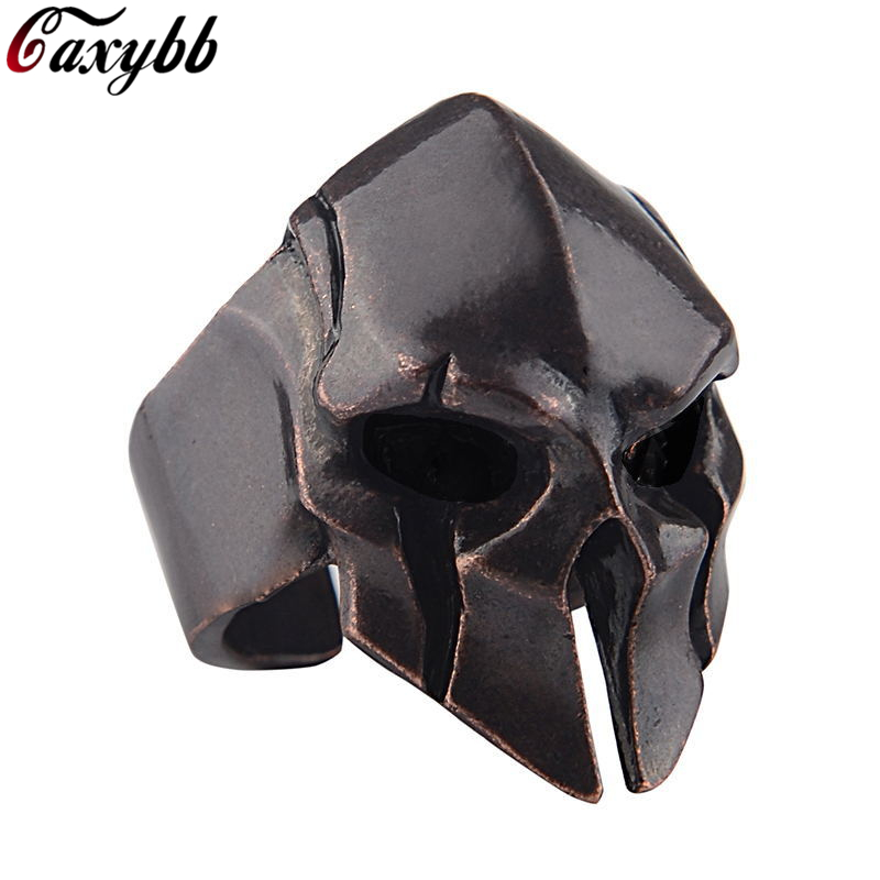 Spartan Hero Helmet Mask Ring for Men Vintage Punk Biker Jewelry Male Cool Antique Silver Gold Color Finger Rings