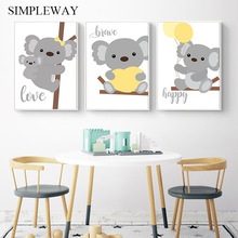 Woodland Animal Wall Art Canvas Painting Baby Koala Nursery Poster Print Nordic Kids Decoration Picture Children Bedroom Decor цена