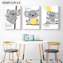 Quadro de parede com animais de floresta, arte de decoração para bebês, pôster do berçário de coala, imagem nórdica para decoração de crianças