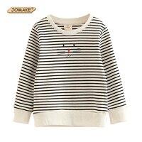 JOMAKE Niedlichen Cartoon Katze Mädchen Sweatshirts Striped Mädchen Tops Pullover 100% Baumwolle Kinder Kleidung Neue Marke Baby-kleidung