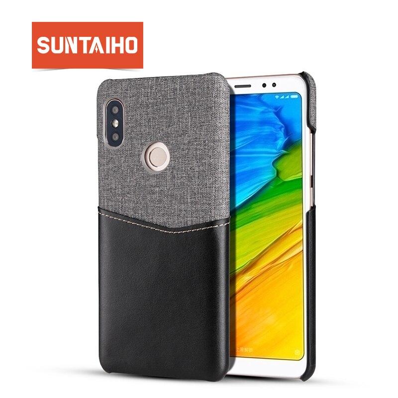 Suntaiho coque for xiaomi redmi note 5 pro Redmi 5 plus case Pu leather+canvas back for xiaomi 8 SE cover for xiaomi 5X 6X case