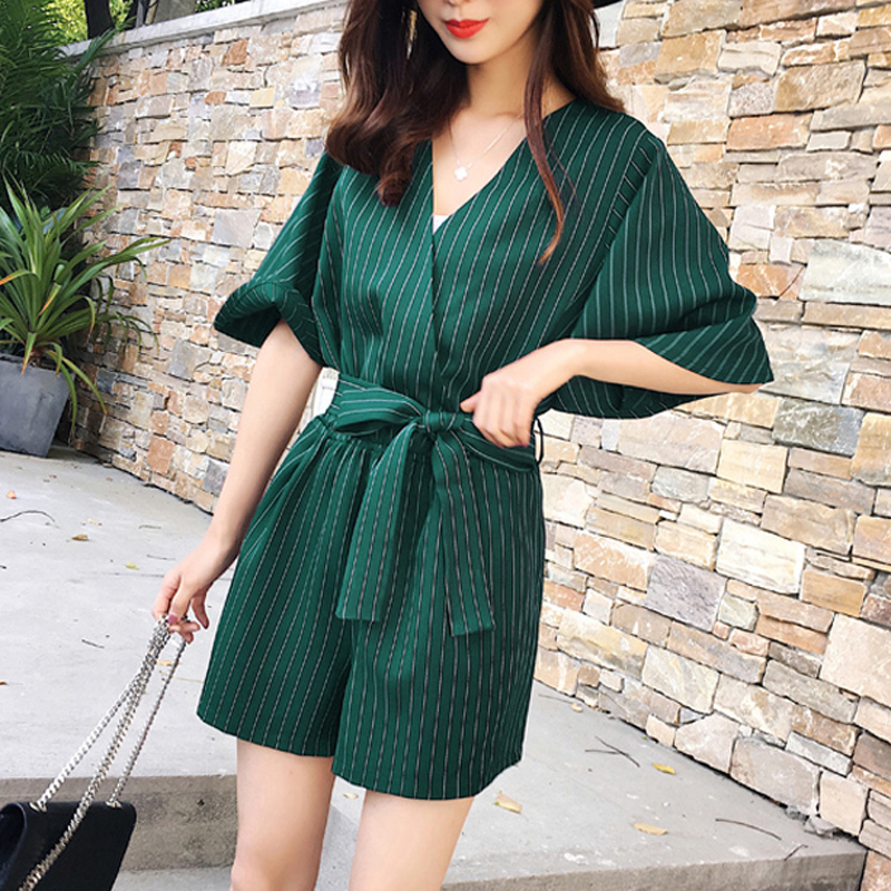 Summer V-neck High Waisted Striped Playsuit Sashes Short Sleeve Women Romper Bodysuit 2018 Casual Short Jumpsuit femininas