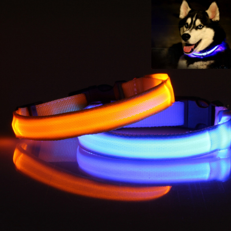 Pet Dog Collar Led Polyester Night Safety Dogs Cats Collar Color Luminous  In The Dark Light-up With Cr2032 Battery 160310-12