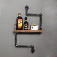 45*15 см ручной работы стене висит железный книжный шкаф поделки промышленного ретро настенное крепление железная трубы, полки для хранения с