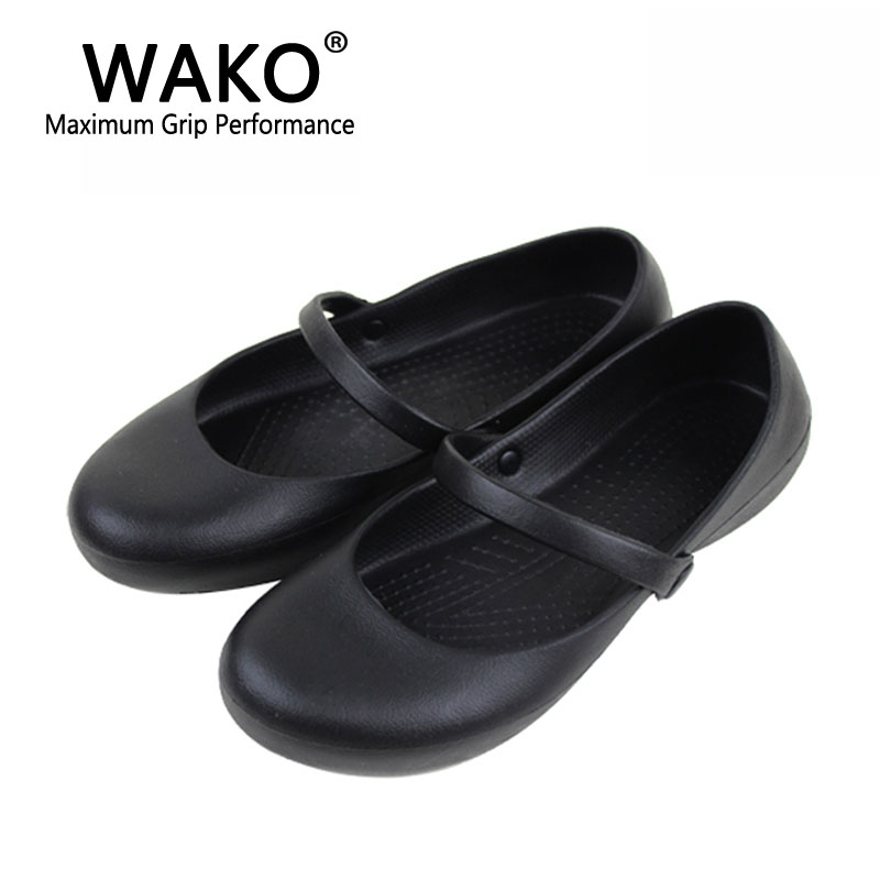 WAKO Women Chef Shoes with Strap Oilproof Waterproof Shoes for Kitchen Workers Black Cook Sandals for Female Non-skid Size 36-41 подставки кухонные boston cook with love black подставка для поваренной книги