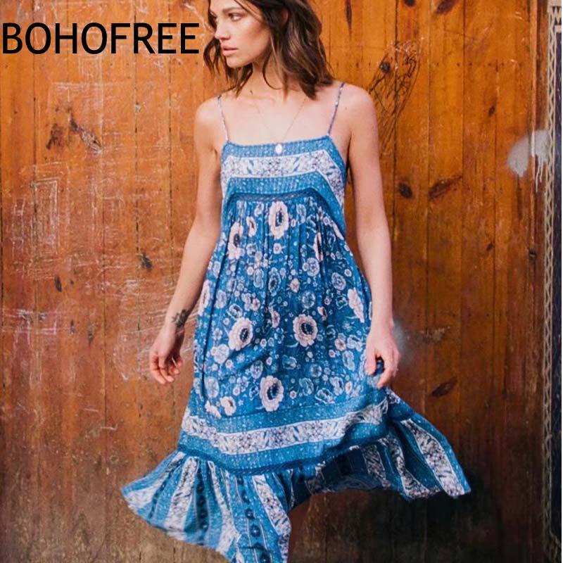 BOHOFREE Vintage Bohemian Navy Floral Midi Dress Sexy Low Back Summer Dresses Patchwork Lace Hem Casual Beach Dress Women Dress