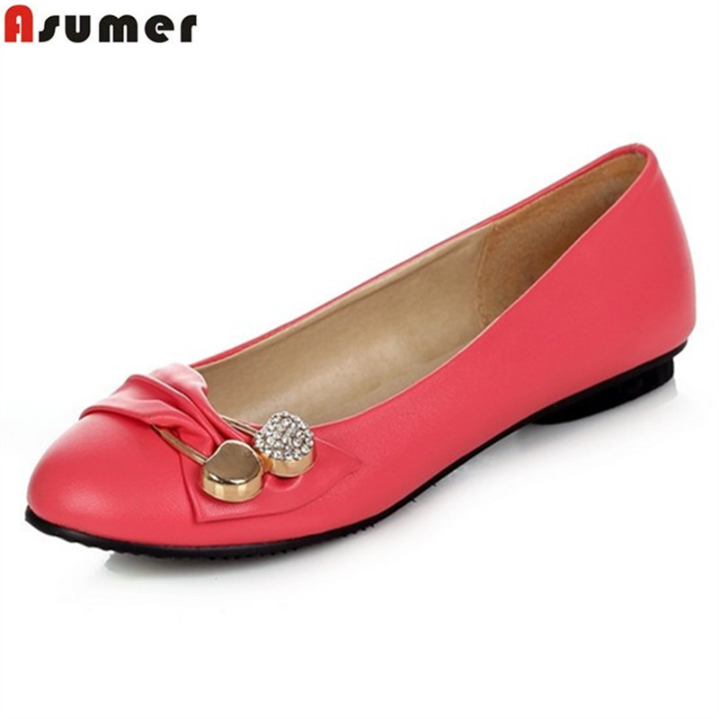 Asumer Spring Summer NEW fashion flats white black red pink green women's flat shoes woman ladies casual female ballet shoes brand new fashion casual loafers sweet pink white women flats solid summer style shoes woman 5 colors ballet flats
