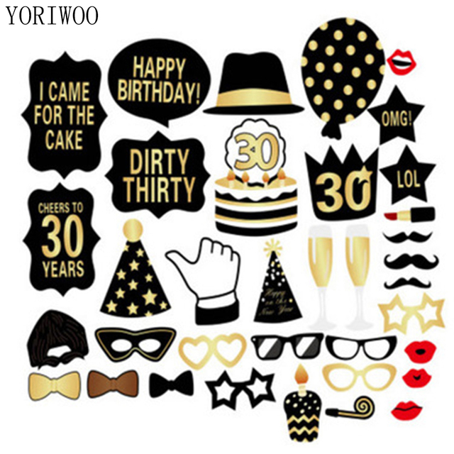 YORIWOO Adult 30th Birthday Photo Booth Props Happy 30 Years Age Party Decoration Anniversary Photobooth Supplies