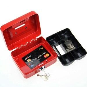 Image 3 - مصغر النثرية النقدية صندوق من الاستانلس ستيل قفل الأمان قابل للقفل معدن آمن صغير يصلح ل ديكورات منزلية 4.9*3.7*2.2 بوصة