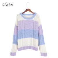 Qlychee Autumn Winter Knitted Sweater Women Long Sleeve Soft Pull Femme 2017 Warm Jumper Colorful Stripe