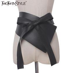 Twotwinstyle 2017 нерегулярные Кружево лук женские Ремни из натуральной искусственная кожа черный Для женщин одежда с поясом Интимные аксессуары