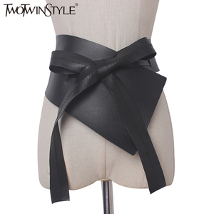 TWOTWINSTYLE 2020 Irregular Lace Up Bow Female Belts Made of Genuine PU Leather Black Women Belt Clothing Accessories Fashion