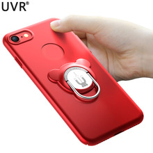 UVR Simple Phone Case for Iphone 6/7/8/X Back Cover Kickstand Adsorption with Finger Ring PC Hard Coque for Iphone 6s/7/8 Plus