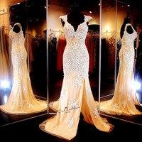 Sexy Champagne Lace Evening Dress Vestidos de Noche White Applique Mermaid Prom Dresses Cap Sleeve Split Side Robe de Soiree