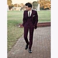 Wine Red Groomsmen Tuxedos 2017 Slim Fit Gorgeous Wedding Men's Suit Formal Party men Tuxedos suits ( jacket+Pants+vest+tie)