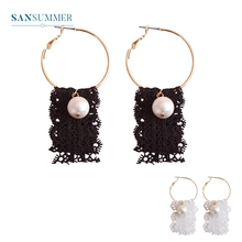 2017 New Hot 1PC Fashion Jewelry Form Sansummer Lace Pearl Round Popular Product Bohemia Vantage Style Drop Earrings 099