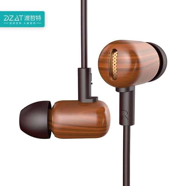 Original DZAT DF 10 In Ear Earphone 3.5mm Heavy Bass HIFI earbud DIY Wooden DJ headsets With Microphone