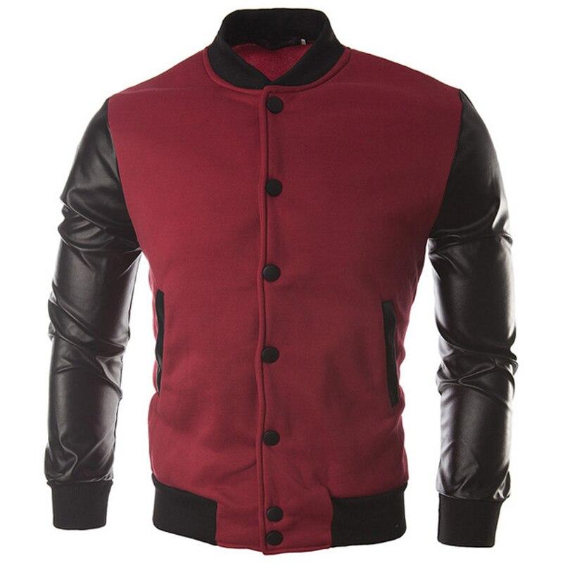 Cool College Baseball Jacket Men 2018 Fashion Design Black