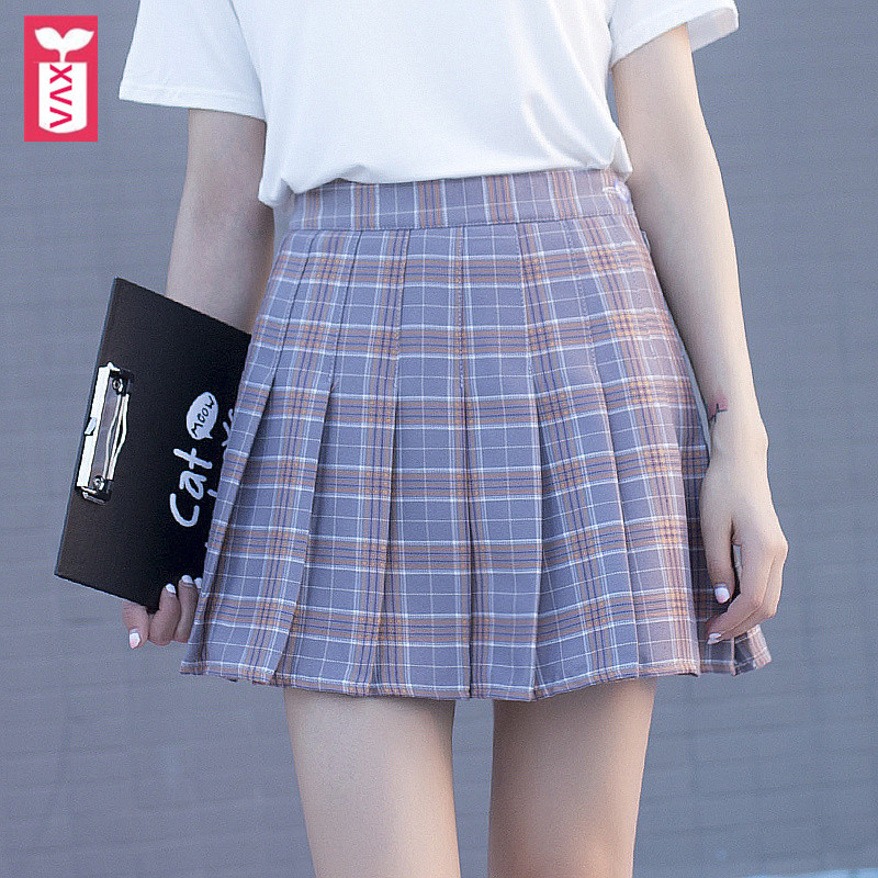 Korea Sweet Brand Knitting Lining Ladys Pleated Skirts Womens High Waist Office Formal Grid MiniSkirts Summer Culottes 2018