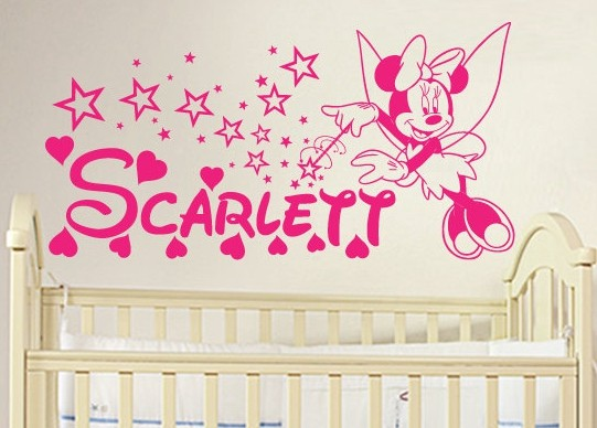 DIY Minnie Mouse Personalized Name Vinyl Wall Decal Stickers For Baby Girl  Nursery Wall Art Decor Free Shipping