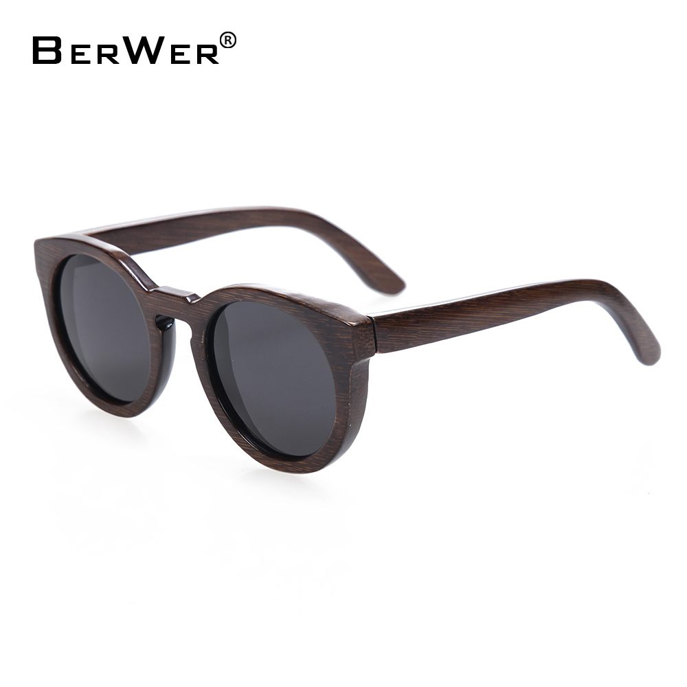 BerWer Sun Glasses For Men And Women Polarized New Fashion Wooden Sunglasses High Quality Bamboo Frame In Stock
