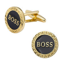 A pair Gold roundles boss men's shirts Cufflinks Cuff Links classic brand Cufflinks wholesale / retail