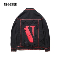 Dropshipping 2017 Hip Hop Broken Holes Mens Jackets And Coats Printed Patched Ripped Denim Jacket Jeans