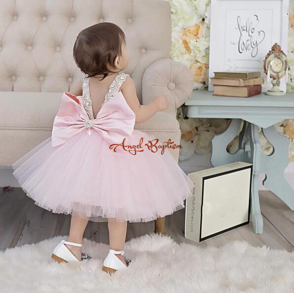 Blush pink jeweled baby 1 year birthday dress with jeweled rhinestones crystals satin bow flower girl puffy tutu summer frocks silver gray purple pink blue ball gown tutu soft tulle puffy flower girl dress baby 1 year birthday dress with spaghetti straps
