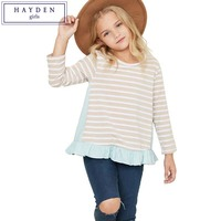 FAMIFAMI Teenage Girls Ruffle Top Kids Long Sleeve Round Neck Striped Tee Shirts 100 Cotton Patchwork