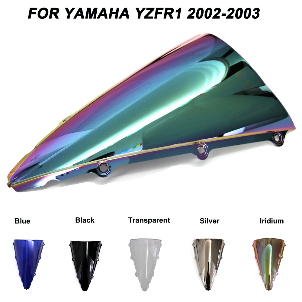 ABS Windscreen For Yamaha YZF-R1 YZF R1 <font><b>2002</b></font> 2003 Double Bubble Motorcycle Windshield Iridium Wind Deflectors image