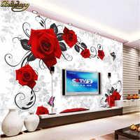 beibehang Custom papel de parede 3d Red rose Mural Wallpaper Bedroom Livig Room TV Sofa Backdrop Wall paper 3D Photo Wallpapers