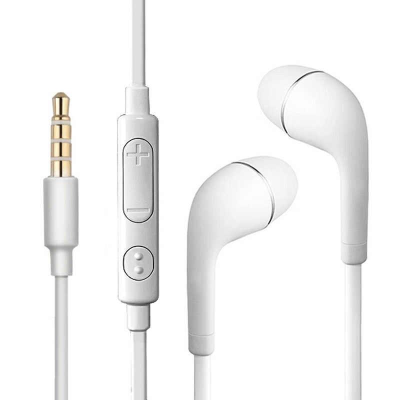 3.5 مللي متر سماعات سماعة ستيريو يدوي الموسيقى الرياضة الأبيض سماعات مع مايكروفون آيفون شاومي سامسونج MP3 PK S8 S4