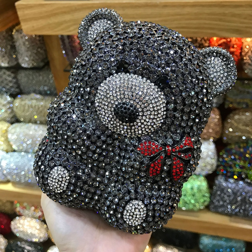 XIYUAN lady black/silver Rhinestone Wedding Clutch Bag cocktail Party Purse Luxury Crystal Evening Bag Women Prom Bridal Handbag e