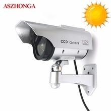 Пустышка поддельные камера солнечный Мощность водостойкий Крытый безопасности моделирование CCTV Наблюдения Пуля с светодио дный мигающий свет Cam