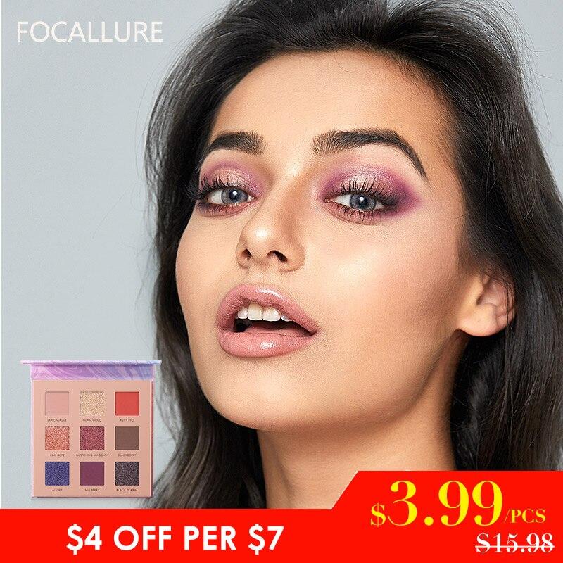 $3,99 = 6 piezas regalo suerte FOCALLURE más 9 colores paleta de sombra de ojos de larga duración Natural ojo maquillaje mate sombra de ojos cosméticos