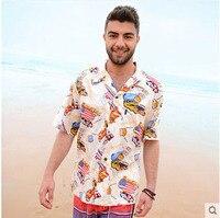 Mens Short Sleeve Hawaiian Beach Shirt Man Casual Cotton Printing Europe America Plus Size S 2Xl
