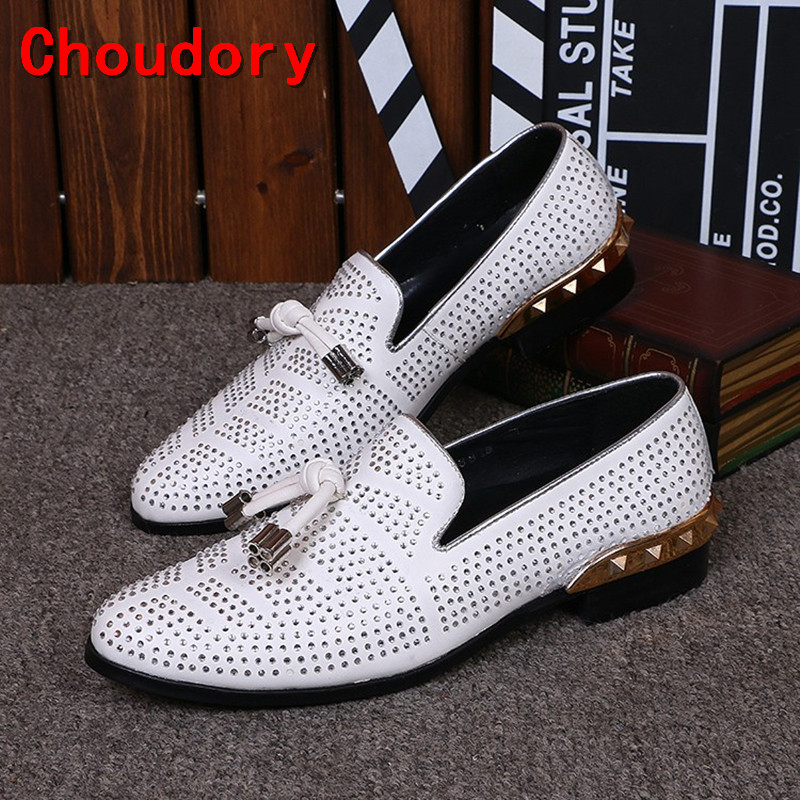 Italian shoes men leather Flat Loafers White Crystal Bling Bling Rhinestone Leather Dress Shoes Slip On Zapatos Hombre size12