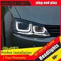 Стайлинга автомобилей Для VW Jetta фары U angel eyes DRL 2012-2015 для Sagitar СВЕТОДИОДНЫЕ бар DRL Q5 bi xenon объектив h7 ксенон