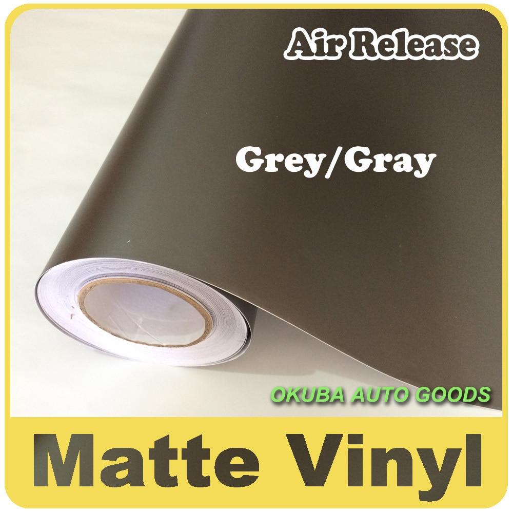 Vente en gros 1.52*30 m gris mat vinyle Wrap Anthracite avec bulle d'air gris foncé mat Film véhicule emballage