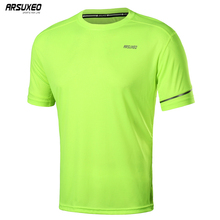 ARSUXEO Summer Dry Fit Running T Shirts Mens  Short Sleeves Fitness Gym Shirt Sports Training Crossfit Jersey