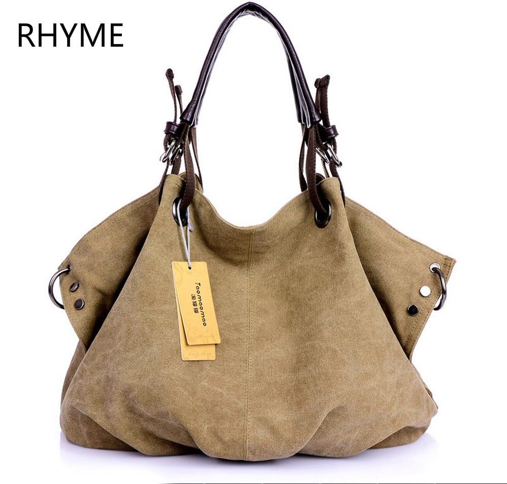 RHYME Trending Style Canvas Handbag Women Large Shoulder Bag Fashion Casual Bolsos Famous Designer Capacity Sac