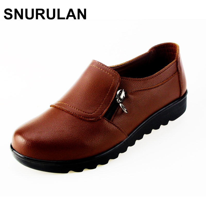 SNURULAN New Autumn Women's Shoes Fashion Casual Women Leather Shoes Ladies Slip On Comfortable Work shoes free shipping free shipping 2017 full grain leather women fashion mixed colors casual pumps slip on ladies office