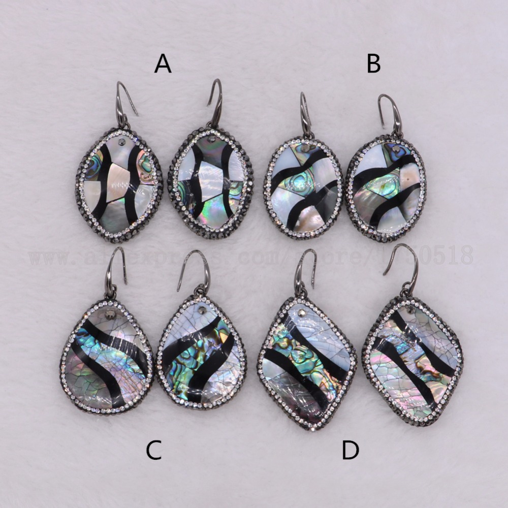 5 pairs abalone earrings Drop earring natural shell earrings dangle earrings Gems stone jewelry custome jewelry