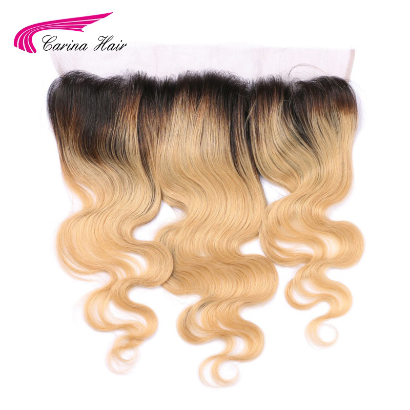Carina Hair Ombre Farge T1B / 27 # 13 * 4 Øre til Øre Snøre Frontal Closure Sveitsisk Lace Bleached Knots Brasilian Remy Hair Gratis frakt