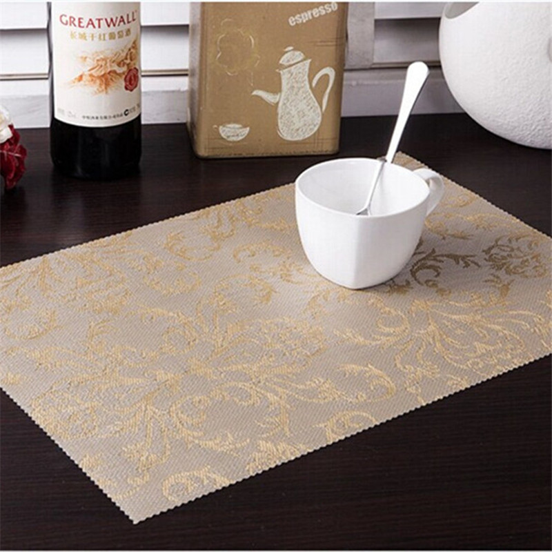 Thicken 4pcs Set Pvc Square Dining Table Placemats Gold Heat Insulation Mat Coaster Bowl