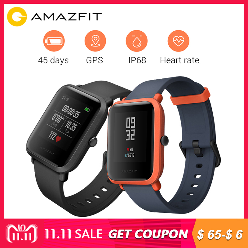 [English Version] Original Xiaomi Huami Amazfit Bip BIT PACE Lite Youth Smart Watch Mi Fit Reflection 1.28 IP68 Waterproof GPS