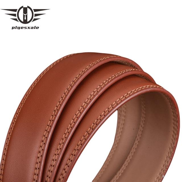Plyesxale cinturón de cuero genuino hombres sin hebilla diseñador cinturones de lujo marrón negro automático cinturón 3,5 cm ancho G100