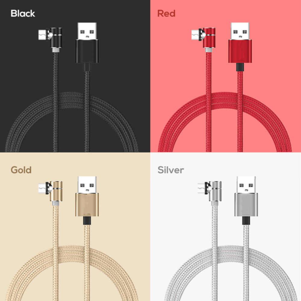90 gradi LED Micro Cavo USB Magnetico Cavo di Ricarica Per il iPhone XR Samsung Xiaomi USB Tipo C Magnete Caricatore USB C Cavo Adattatore